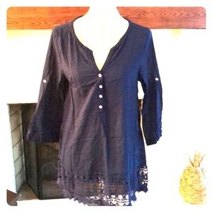 Aerie navy/lace swim coverup